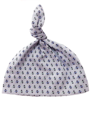 Blue Floral Knotted Premature Baby Hat (1.5-3lb)