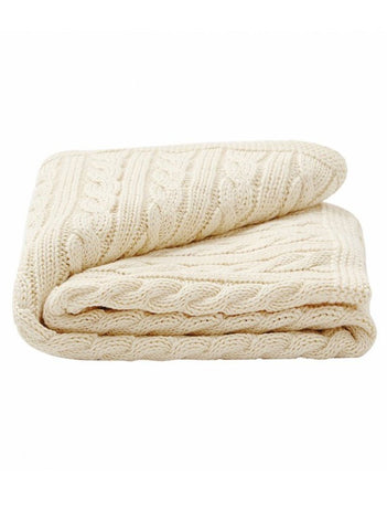 Gorgeous Cable Baby Blanket - Cream