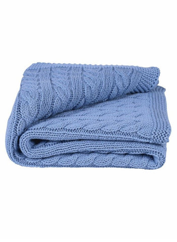 Gorgeous Cable Baby Blanket - Slate Blue