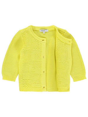 Organic Cotton Knitted Cardigan - Canary Yellow (4-7lb)