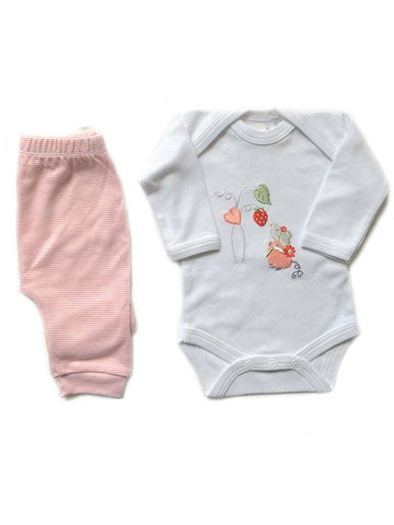 Flower Mouse Long Sleeve Bodysuit and Trouser Set NB & 0/3