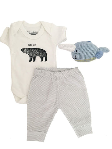 Bear Hug Vest, Grey Striped Trousers and Narwhal Toy Set - Newborn