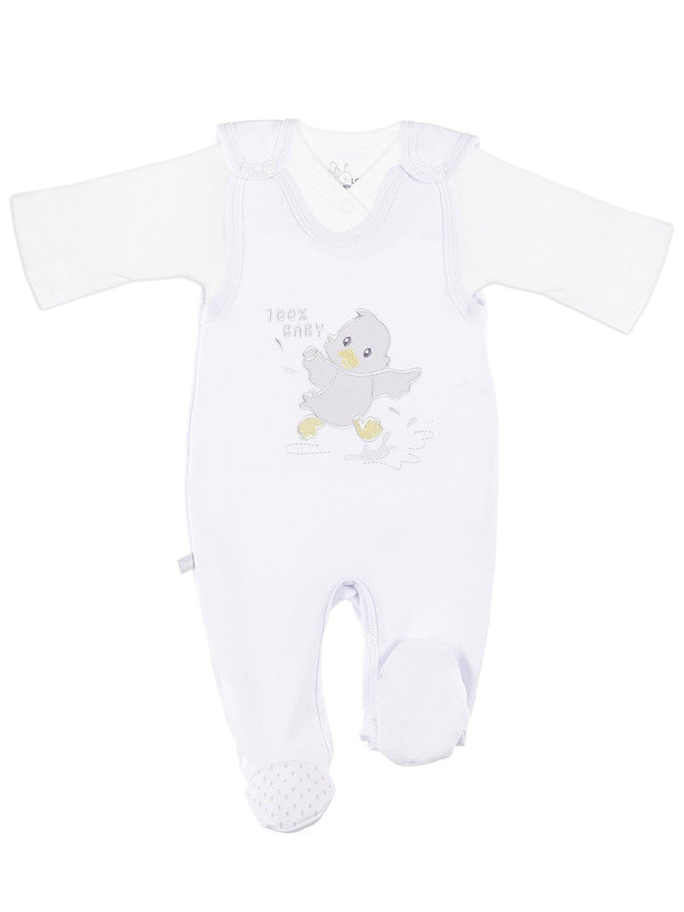 Wrapover Top & Chick Footed Dungarees Set - White (3-5lb & 5-8lb)