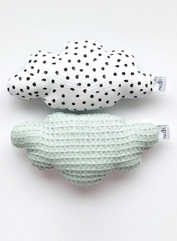1 Stylish Soft Cloud Rattle, Monochrome & Powder Mint