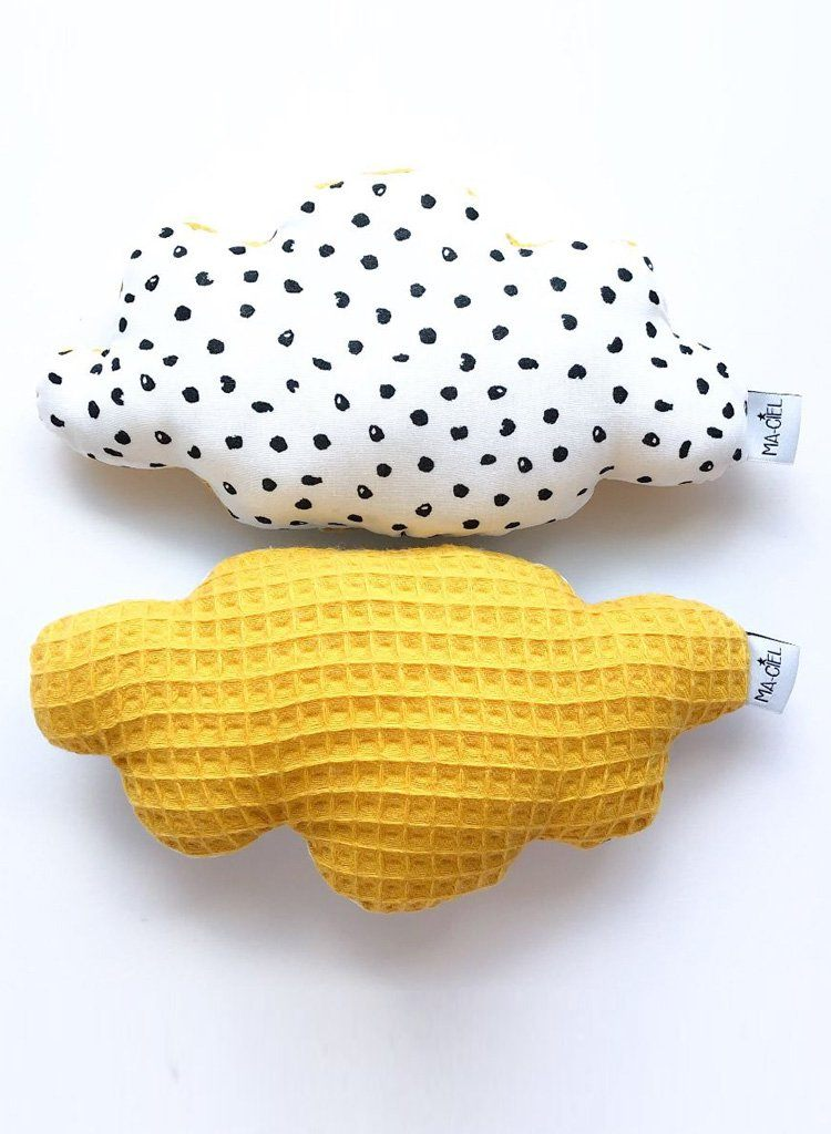 1 Stylish Soft Cloud Rattle, Monochrome & Mustard