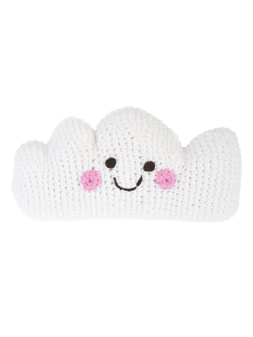 Smiley Cloud Crochet Fair Trade Rattle Toy