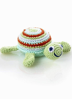 Crochet Baby Rattle - Turtle, Green/Blue - rattle - Pebble Toys - Little Mouse Baby Clothing & Gifts