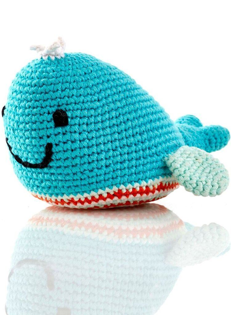 Crochet Whale - Fair Trade Rattle Toy, Pebble Toys