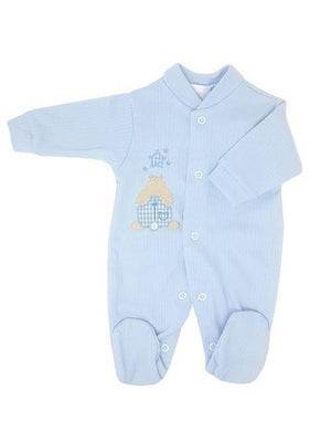 Blue Ribbed Rabbit & Star Sleepsuit, 4 Sizes