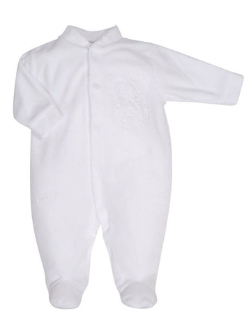 White Velour Mouse in Teacup Sleepsuit, 3-5 & 5-8lb