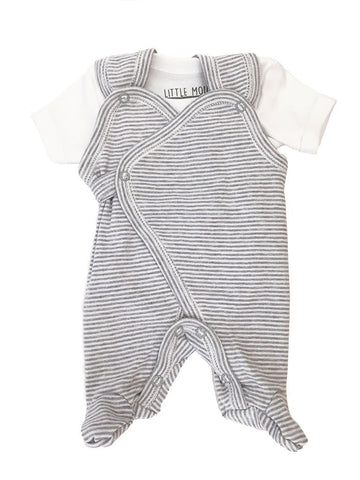 Grey and White Stripe Wrap Dungaree and Vest Set (3lb-5lbs)