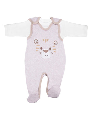 Early Baby Top & Tiger Footed Dungarees Set - Ecru (3-5lb & 5-8lb)
