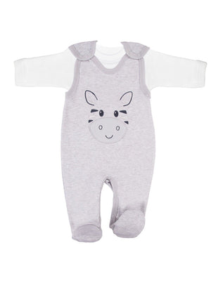 Early Baby Top & Zebra Footed Dungarees Set - Grey (3-5lb & 5-8lb) - Dungaree - EEVI