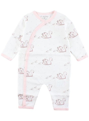 Lovely White & Pink Sleepsuit With Swans (4lb-7lb)