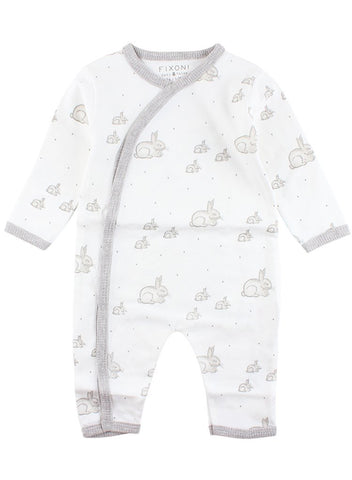 Beautiful White Sleepsuit With Grey Bunnies Design (4lb-7lb)