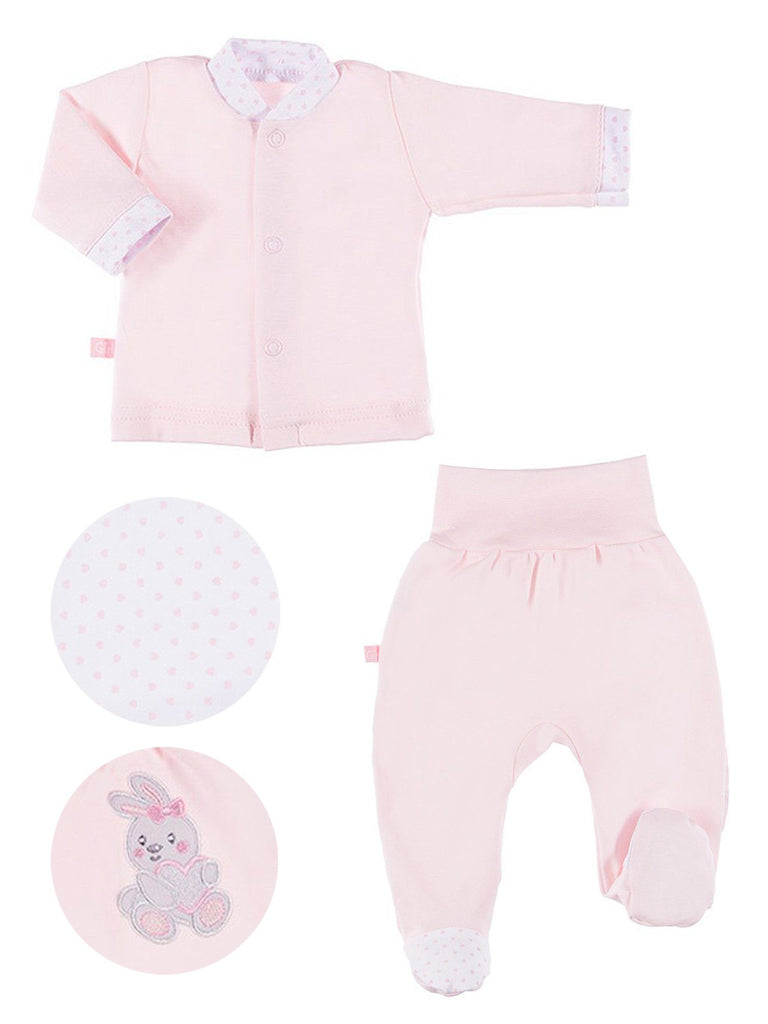 Embroidered Bunny Rabbit Trousers & Top Set - Pink (3-5lb & 5-8lb)