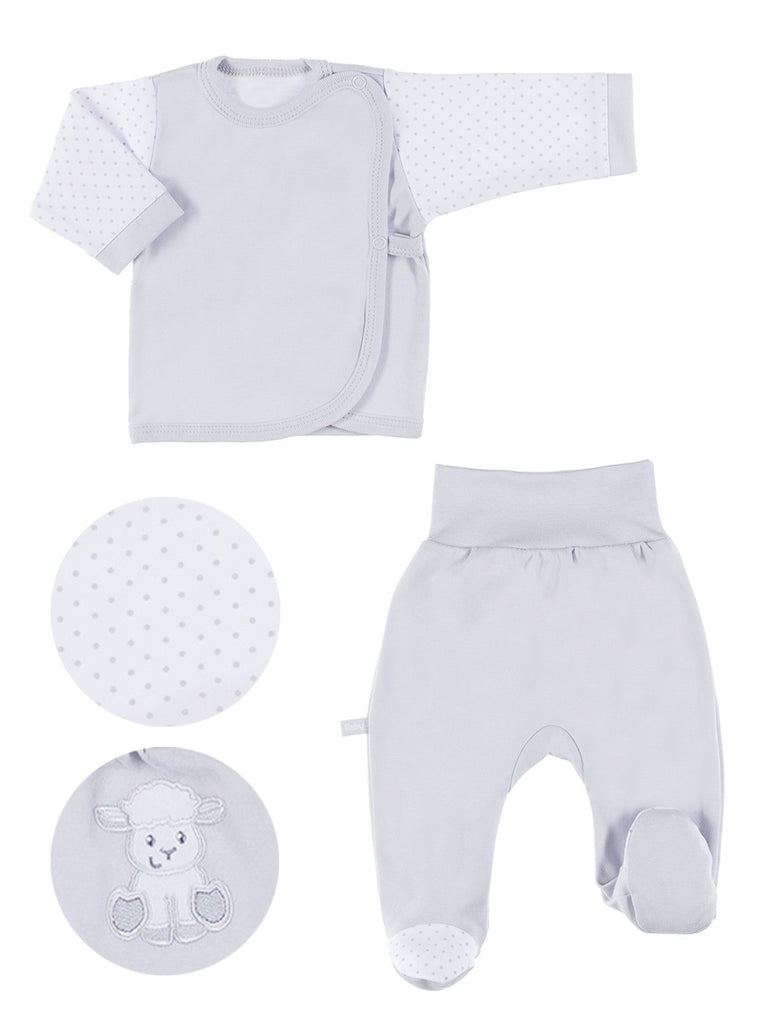 Embroidered Lamb Trousers & Wrapover Top Set - Grey (3-5lb & 5-8lb)