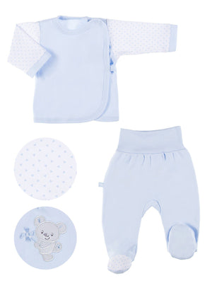 Embroidered Bear Trousers & Wrapover Top Set - Blue (3-5lb)