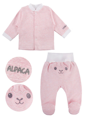 Alpaca Design Top & Embroidered Face Trousers Set - Pink (3-5lb & 5-8lb)