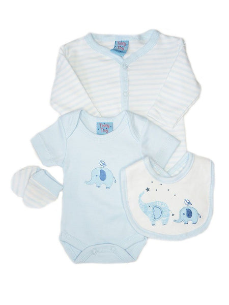 Blue 4 Piece Gift Set: Sleepsuit, mitts bib & hat (3-5lbs & 5-8lbs)