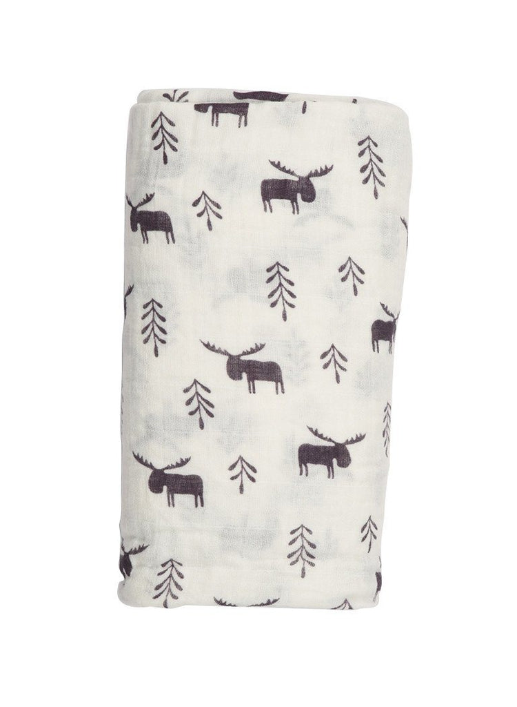 Large Contemporary Muslin Swaddle Blanket - Elk