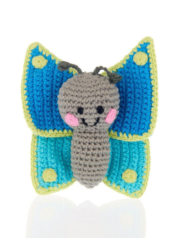 Smiley Butterfly Crochet Fair Trade Rattle Toy
