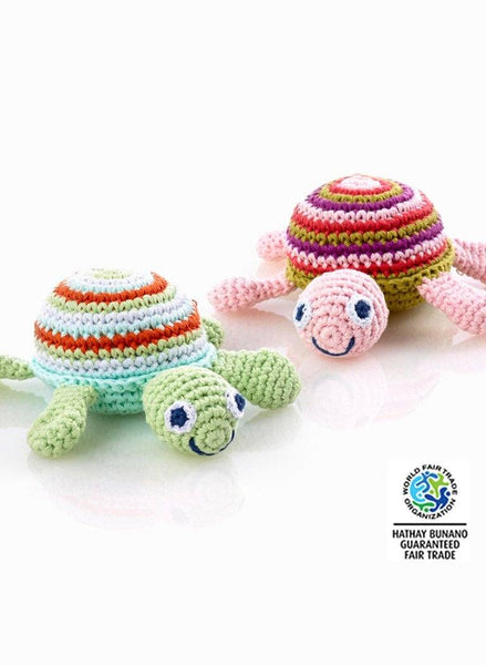 Crochet Baby Rattle - Turtle, Pink - rattle - Pebble Toys - Little Mouse Baby Clothing & Gifts