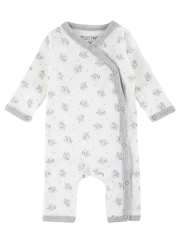 Organic Cotton White Bee Print Sleepsuit (1.5-3.5lb, 3-5lb & 4.5-6.5lb)