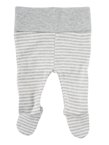 Organic Cotton Grey/White Stripe Footed Trousers (3 sizes 1.5-7lb)