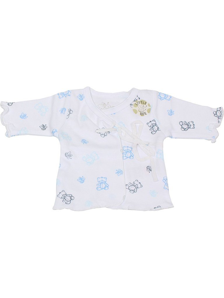 Organic Cotton Blue Bee Bear Ribbon Tie Wrap Top (3-5lb)