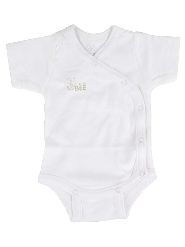 Organic Cotton White Wrap Short Sleeve Vest (3-5lb & 4-7lb)