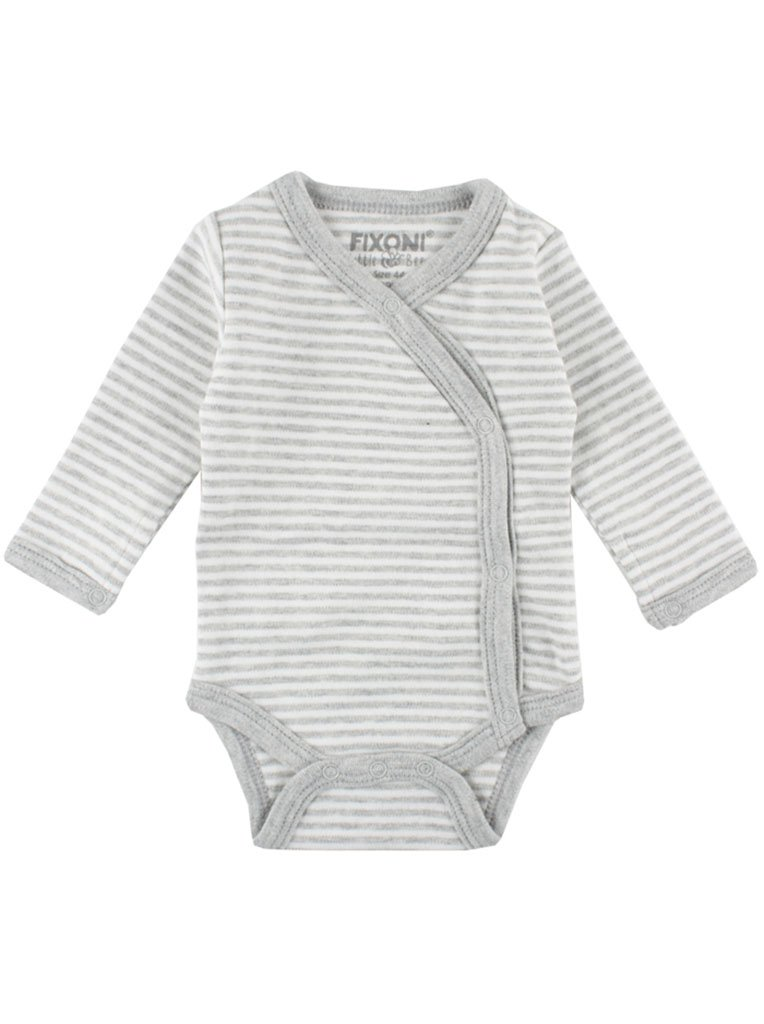 Organic Cotton Grey/White Stripe Long Sleeve Vest (1.5-3.5lb & 3-5lb)