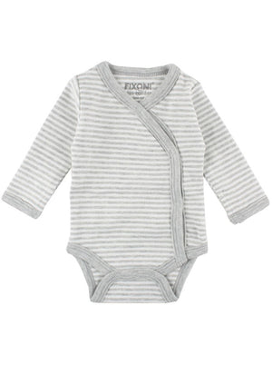 Organic Cotton Grey/White Stripe Long Sleeve Vest (3 Sizes)