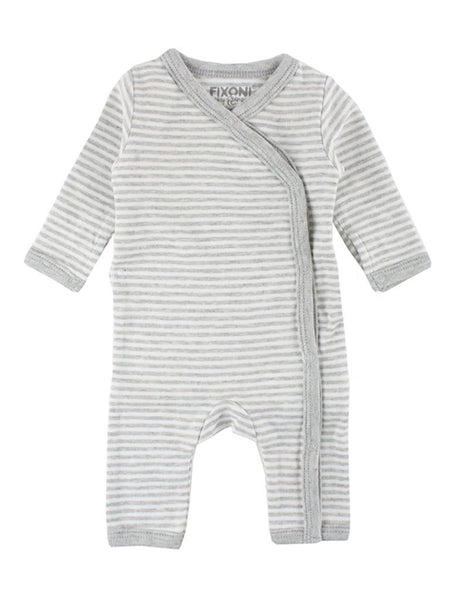 Organic Cotton Grey & White Stripe Sleepsuit (1.5-3lbs, 3-5lb & 4.5-6.5lb)