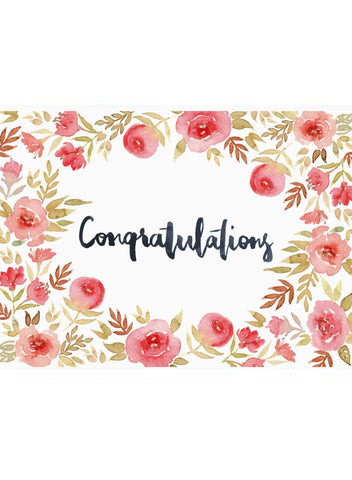 Congratulations, New Baby Card, Floral Watercolour