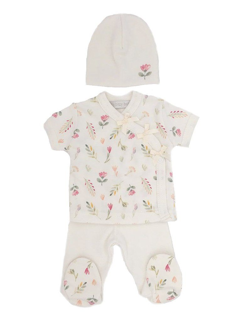 Floral wrap, trousers & hat set (3lb-5lb)