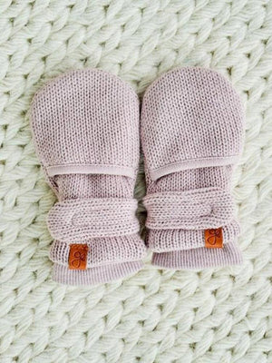 Stay-On Scratch Mittens - Purple Knit (0-3 & 3-6 months) - Scratch Mitts - Goumikids