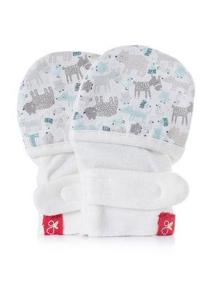 Stay On Scratch Mittens - Forest Friends Grey & Blue (0-3 Months) - Scratch Mitts - Goumikids