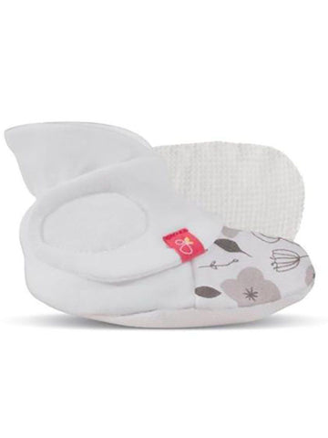 Stay-on Baby Boots, Grey Floral (0-3 Months)