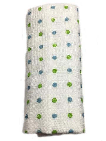 Blue and Green Spotty Bamboo Organic Muslin - 70cm x 70cm