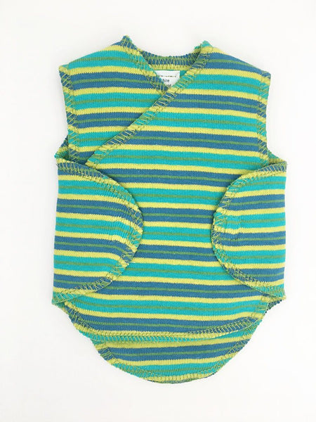 Premature Baby Incubator Vest -  Bright Green and Blue Stripe