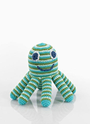 Octopus Crochet Rattle Toy - Green/Blue Stripe - rattle - Pebble Toys - Little Mouse Baby Clothing & Gifts