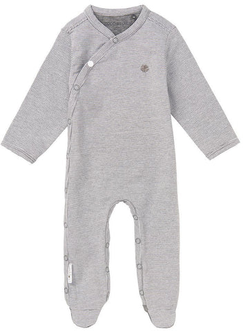 Tiny Baby Sleepsuit - Grey Stripe Footed (4-7lb)