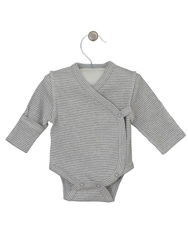 Grey & White Stripe Wrap Long Sleeve Vest, Early Baby Clothes, 3-5lbs