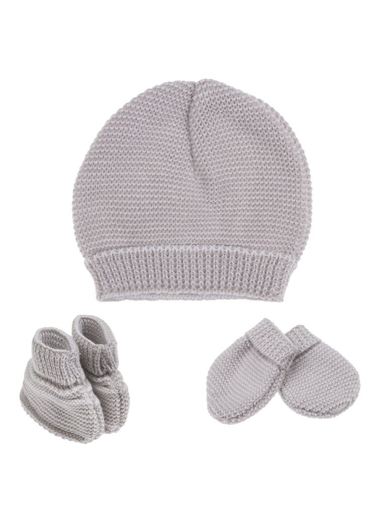 Tiny Baby Knitted Hat, Mitten and Glove Set - Grey (4-7lb)