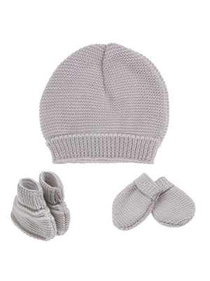 Tiny Baby Knitted Hat, Mittens & Booties Set - Grey (4-7lb) - Hat, Mitts & Booties Set - La Manufacture de Layette