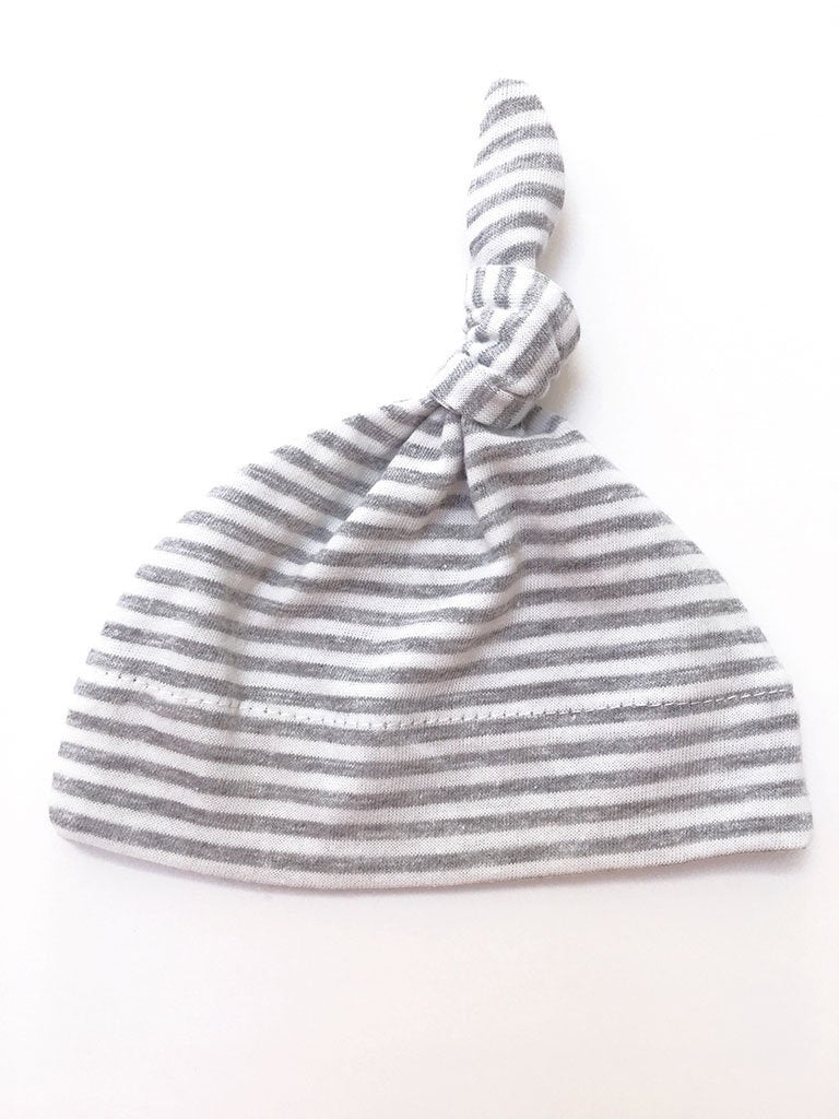 Grey Stripe Knotted Hat (Premature Baby)