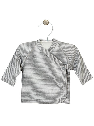 Grey/White Stripe Wrapover Design Long Sleeve Top (3-5lbs)