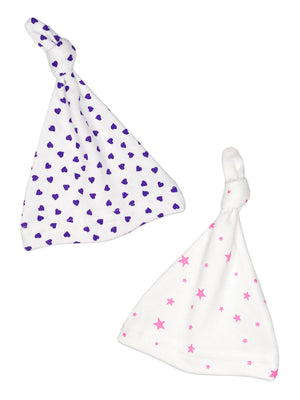 Purple Heart & Pink Star Knotted Prem Baby Hat Set (3 sizes)
