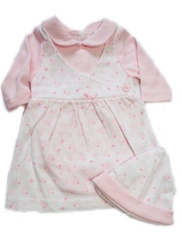 Pink Heart Design Dress & Hat Set 3-5lbs & 5-8lbs